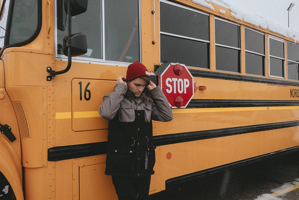 Exchange student by school bus