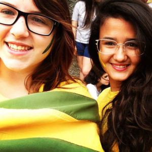 Exchange student in Brazil with flag