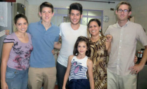 Exchange student with host family in Brazil