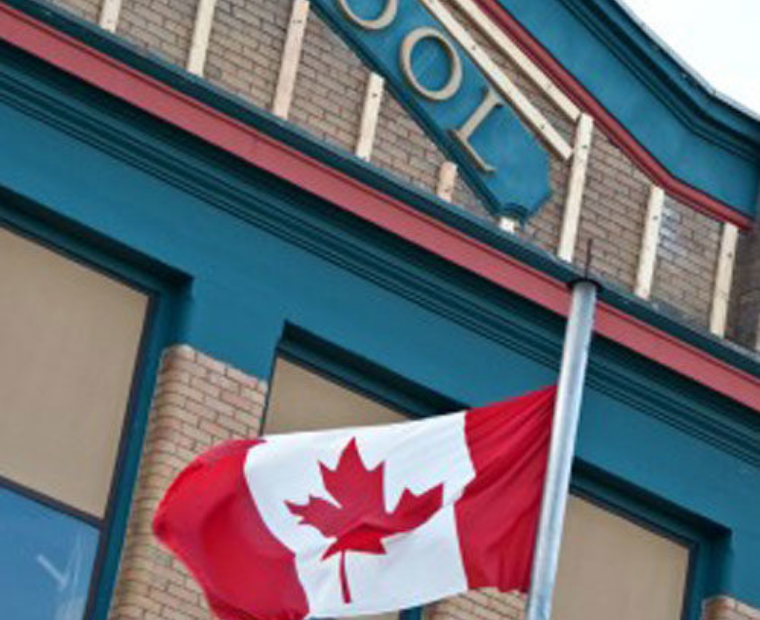 Canada school and flag