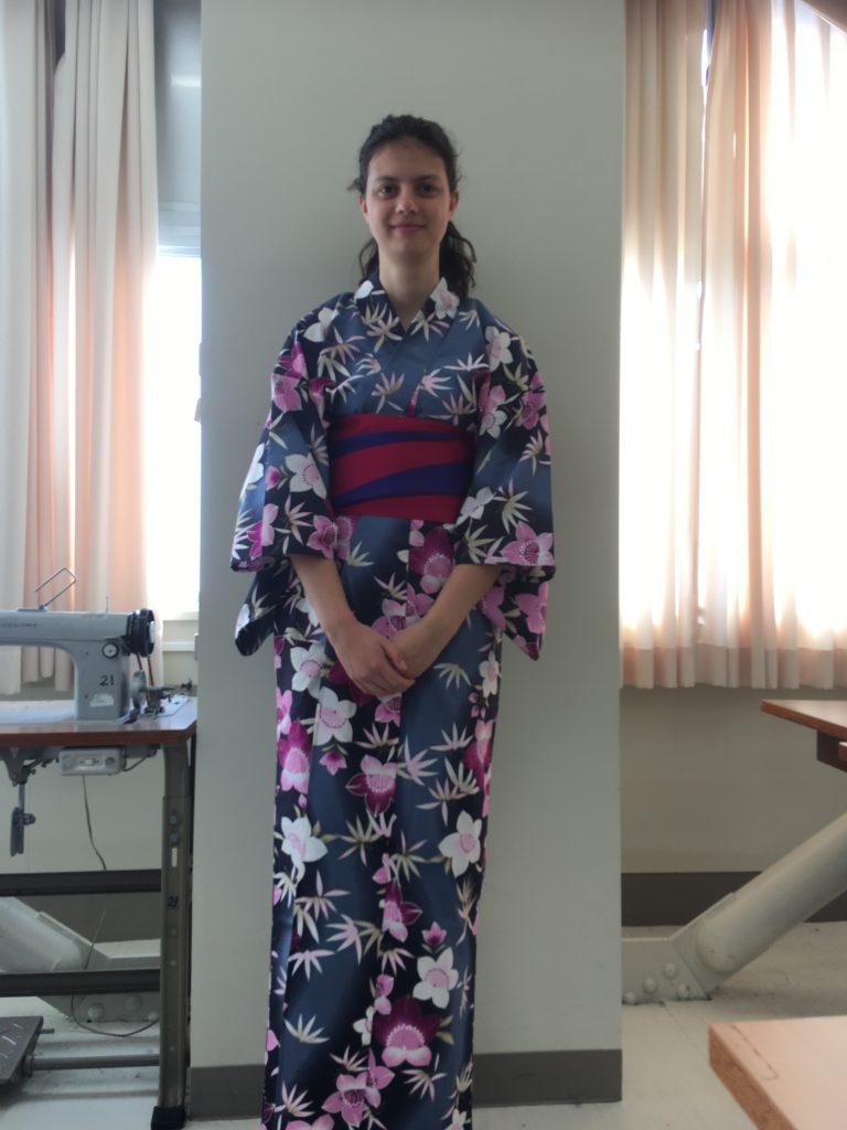 Exchange student in kimono