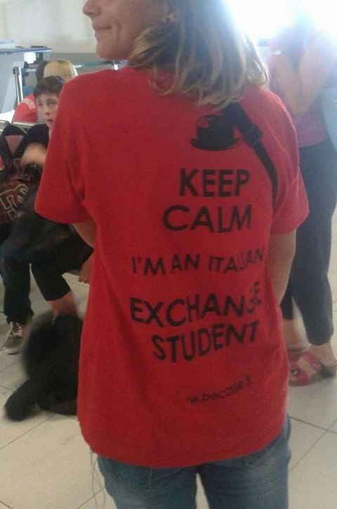 Exchange student in funny t shirt