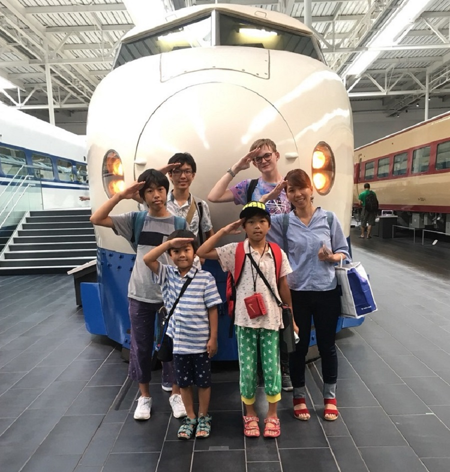 Japan student at museum with host family