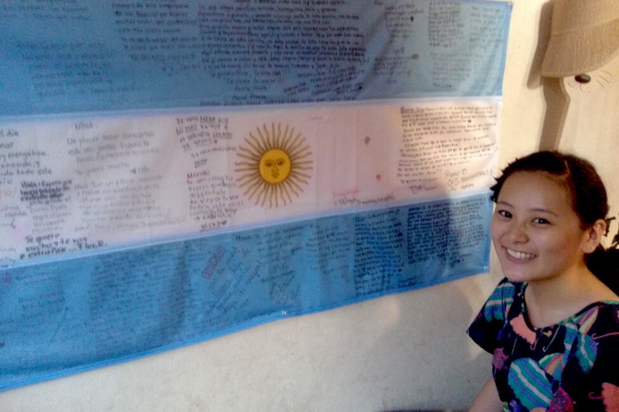 Argentina exchange student with flag