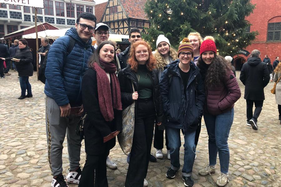 Denmark exchange students on orientation tour