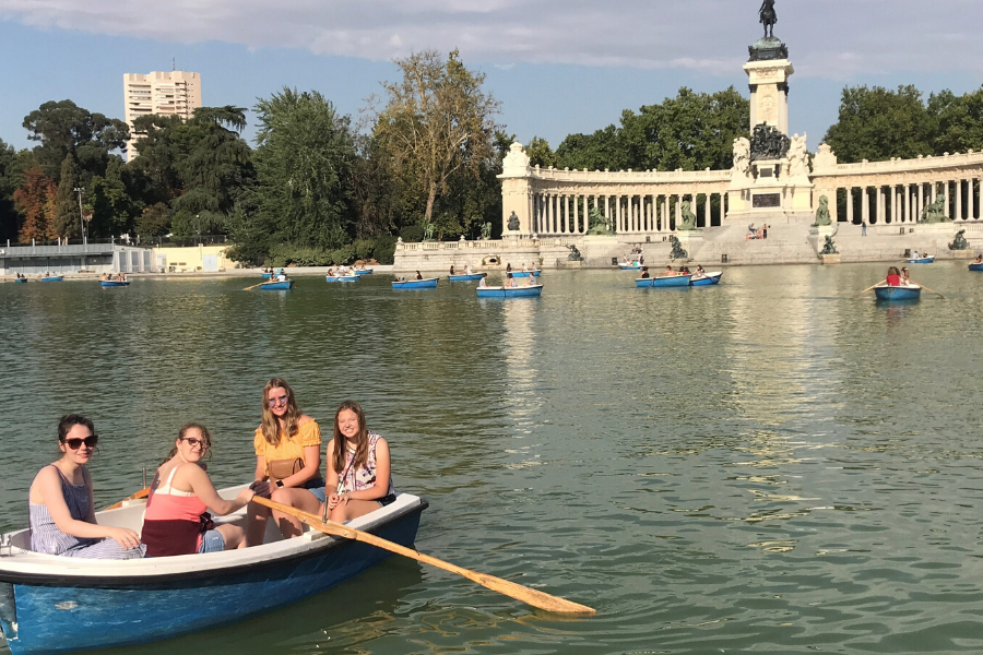 Spain exchange students on a lake