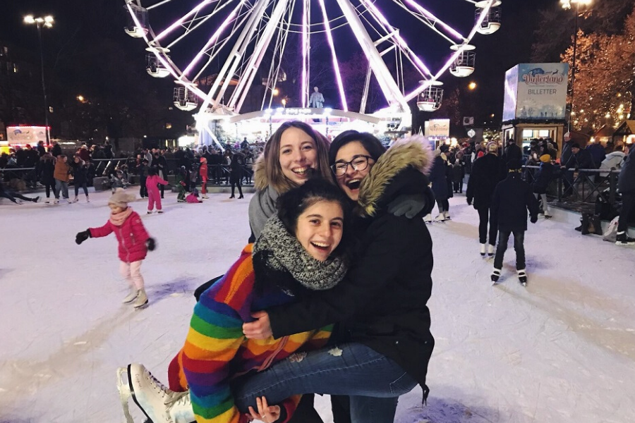exchange students at Norway Christmas markets