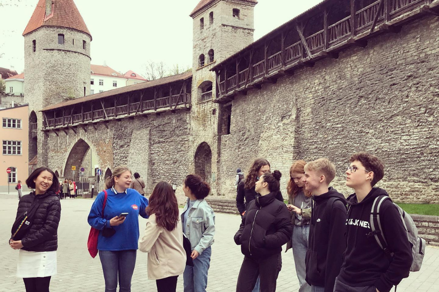 Students at a castle