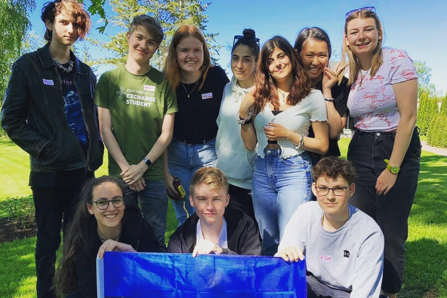 Student group with flag